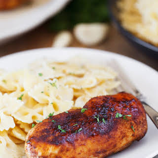 Cajun Chicken with Roasted Garlic Alfredo Pasta.