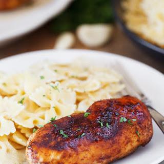 Cajun Chicken with Roasted Garlic Alfredo Pasta.