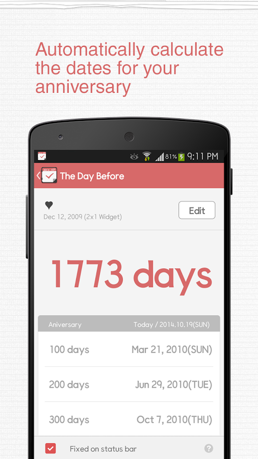 TheDayBefore (D-Day widget)- screenshot