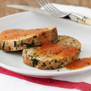 Turkey Spinach Meatloaf with Tomato Sauce.