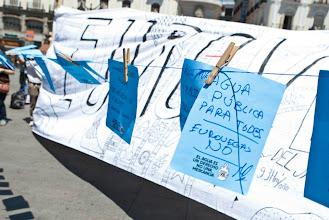 Photo: Mensajes para el agua Pública y en contra del proyecto Eurovegas.