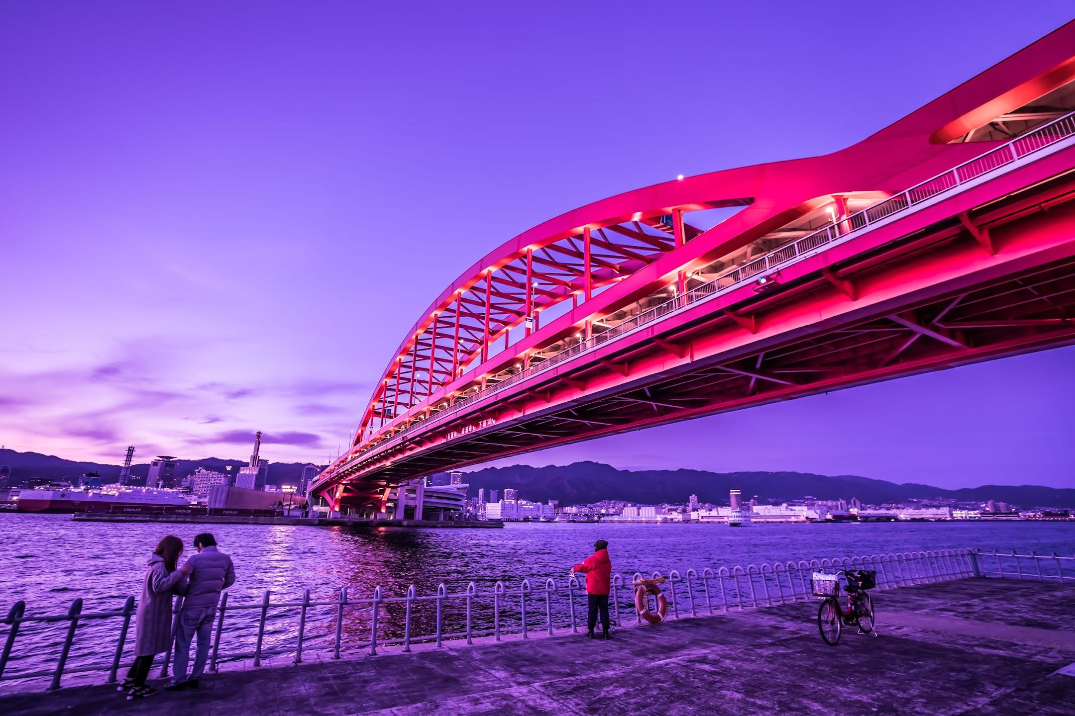 Kobe Great Bridge evening3