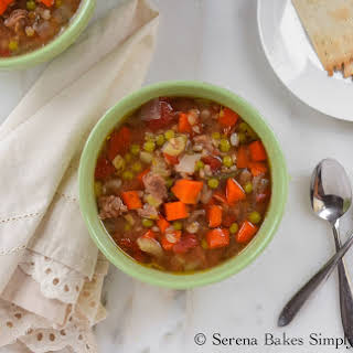 Crock Pot Beef Vegetable and Barley Soup.