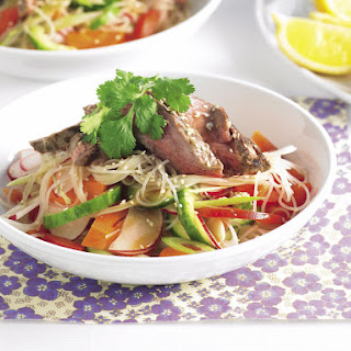 Beef Noodle Salad with Radish, Cucumber and Sesame.