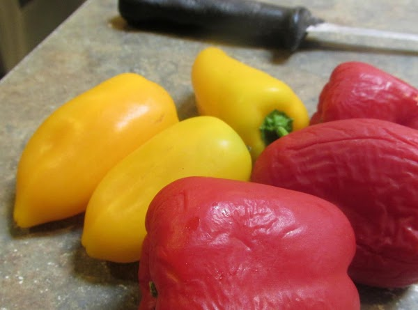 Chop peppers.