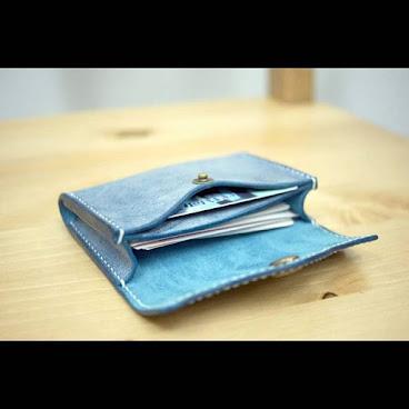 藍色擦蠟卡片套/散銀包