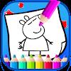 Art peppa Coloring Page Pig Cartoon Icon