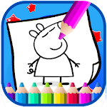 Art peppa Coloring Page Pig Cartoon Icon