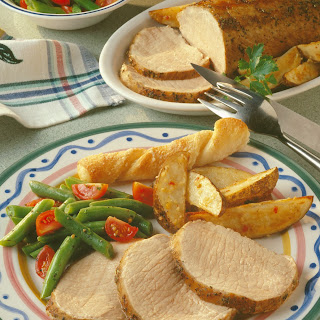 Italian Pork Roast with Roasted Potato Wedges Recipe