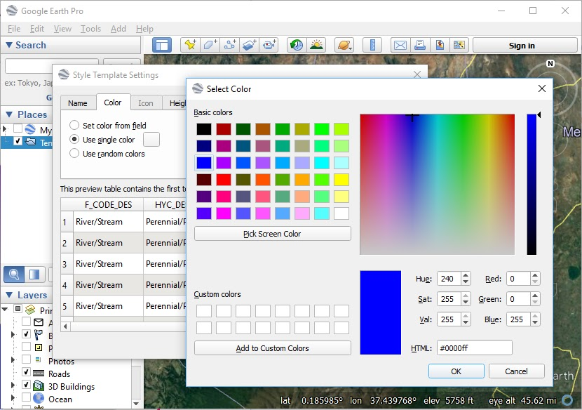 Select a color for the dataset