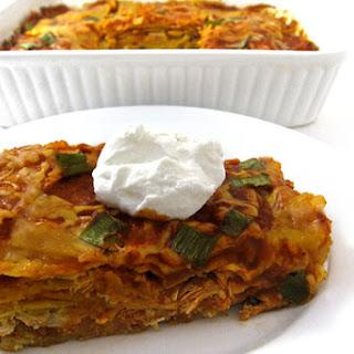 Skinny Chicken Enchilada Layered Casserole