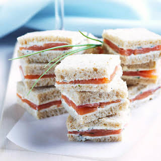 Smoked Salmon with Herbed Cream Cheese on Rye.