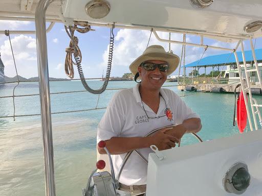 Capt-George-in-antigua.jpg - Captain George, who led a Silver Spirit catamaran tour along the coast of Antigua.
