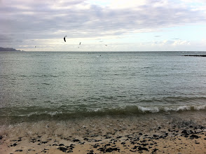 Photo: My last beach walk before heading to the airport. Watching the kiteboarders.