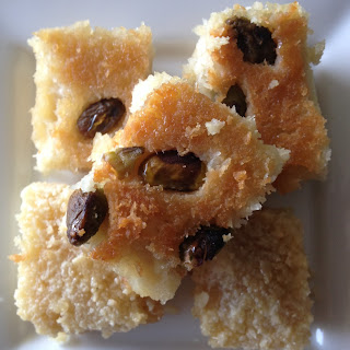 "Basbousa (Traditional Coconut ""Semolina"" Cake)."