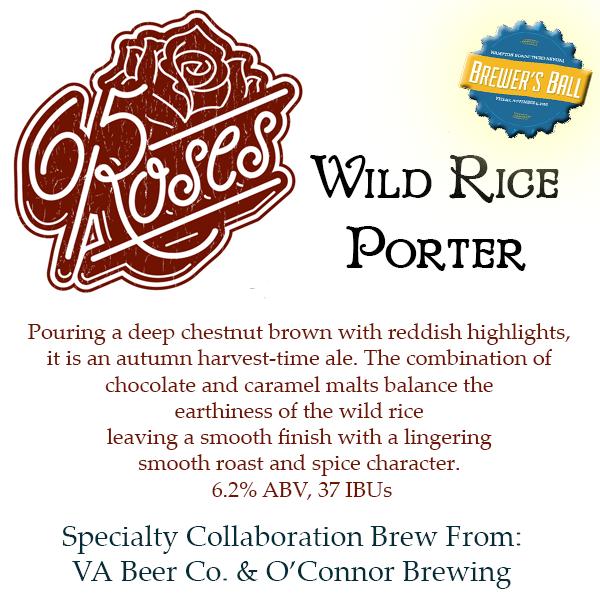 Logo of Virginia Beer Co. / O'Connor Brewing Co. 65 Roses Wild Rice Porter
