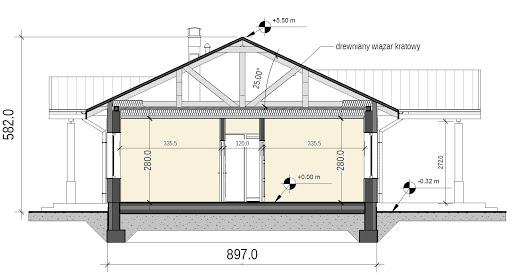 Terrier 3 z garażem - Przekrój