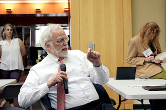 Photo: SciColl Chair David Schindel asks a question of the feeding 10 billion panel.