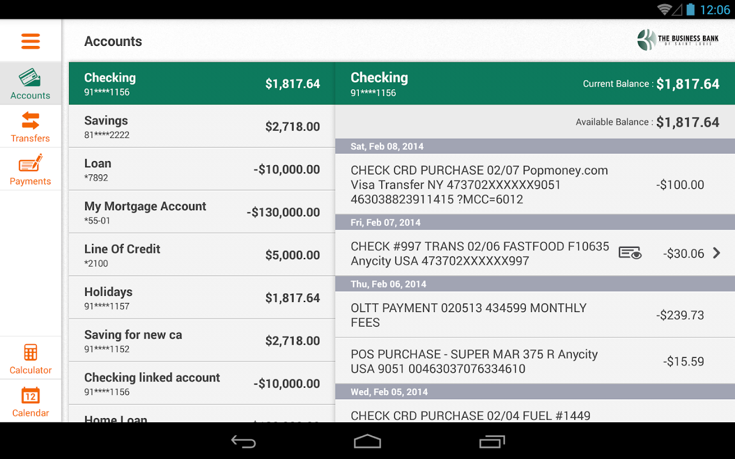 The Business Bank of STL - Tab- screenshot