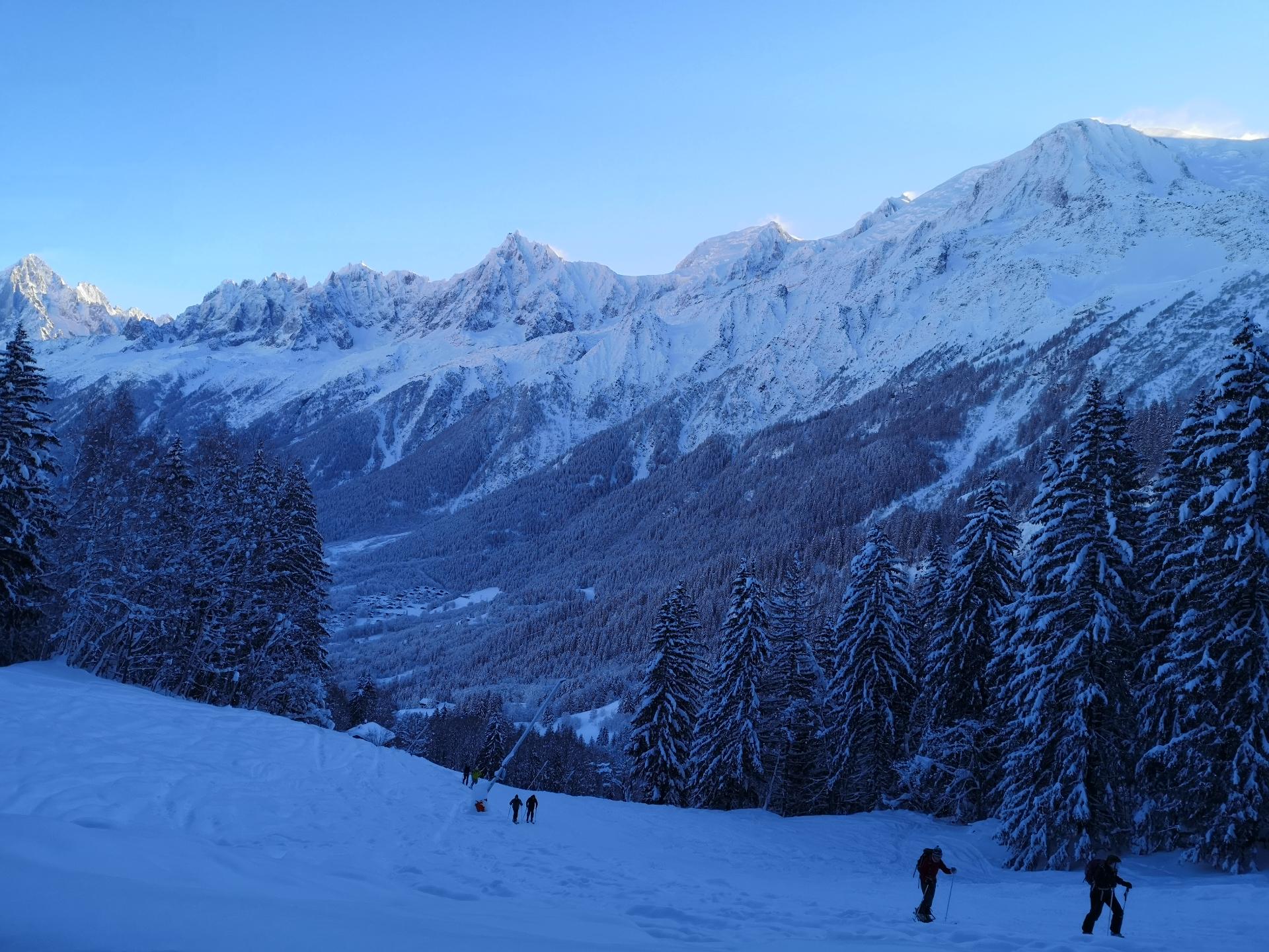 Paysage matin rando ski