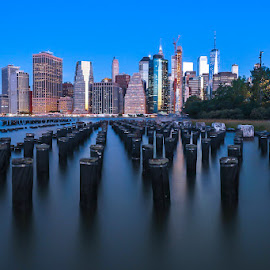 Manhattan by Hanif Khosravi - Uncategorized All Uncategorized ( sunrise, longexposure, city, manhattan, downtown, ny, long exposure, canon usa, building, canon, nyc, cityscape, blue hour )
