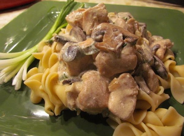 Boil your egg noodles and pour your stroganoff on top!  YUMBO!