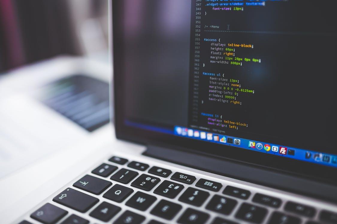 A computer displays CSS code