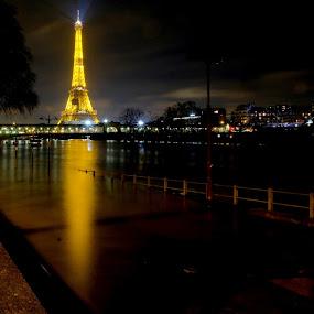 Paris flooding at night by Fred Goldstein - City,  Street & Park  Night ( flooding, seine, paris, eiffel, river )