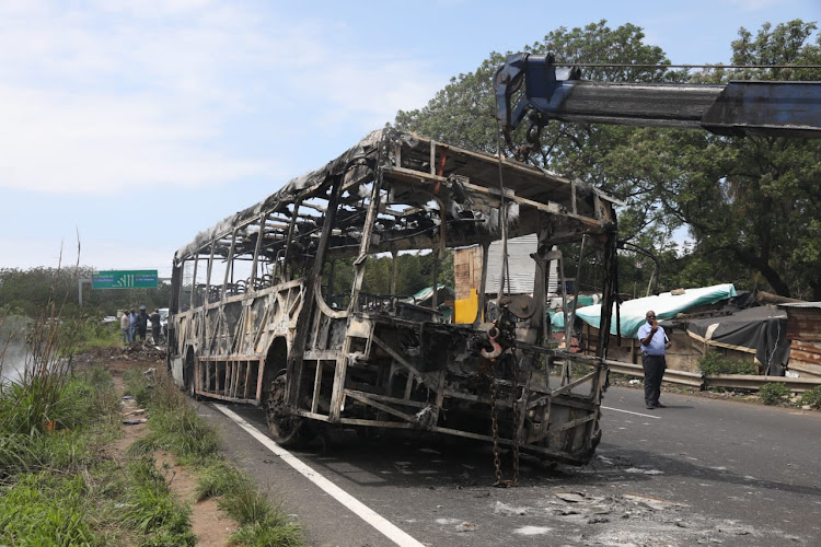 A metro bus was set on fire during protest action in Durban on Monday.