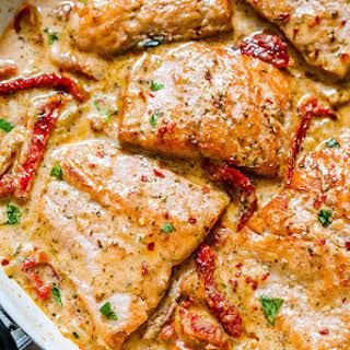 Pan Seared Salmon with Sun-Dried Tomato Cream Sauce.