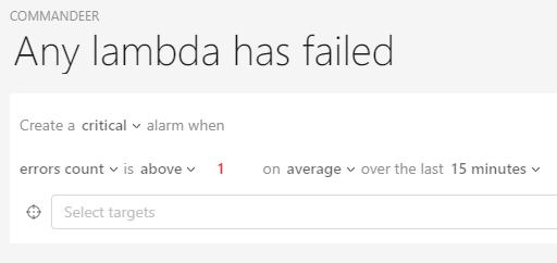 Dashbird alert for Lambda