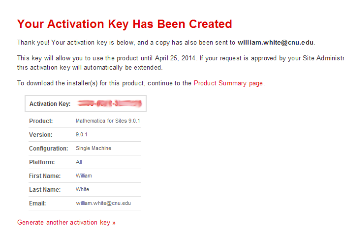 Activation Key Created