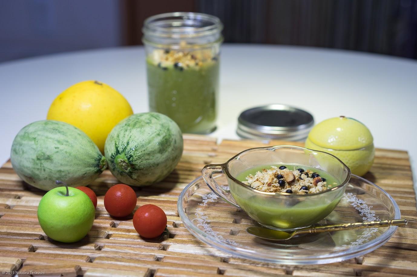 カブ・セロリ・メロン(摘果メロン)などのグリーンスープ