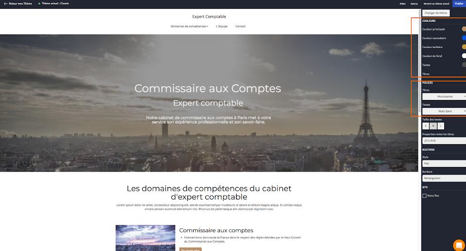 changer le design d'un site d'expert comptable