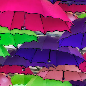 Rainbow Umbrellas by Andrew Magee - Abstract Patterns ( abstract, colour, red, purple, green, vivid, umbrella )