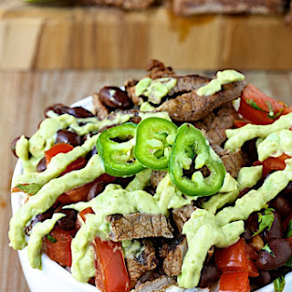 Chili-Lime Beef and Black Bean Bowls with Avocado Crema