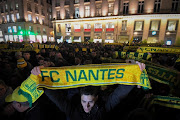 FC Nantes football club supporters gather in Nantes after it was announced that the plane Argentinian forward Emiliano Sala was flying in vanished during a flight from Nantes in western France to Cardiff in Wales, in January 22, 2019.