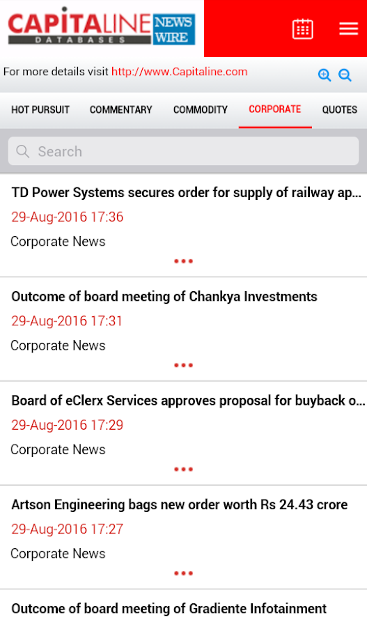 Capitaline Newswire- screenshot