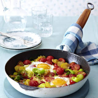 Tomato, Leek, and Potato Hash with Eggs.
