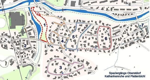 Routen Spaziergänge rund um die Katharinenruhe in Oberstdorf Allgäu
