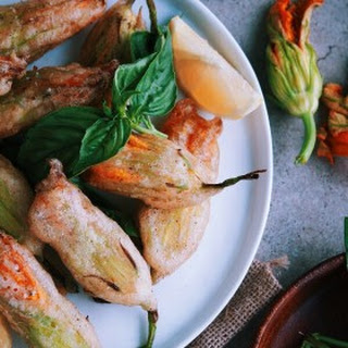 Fried Zucchini Blossoms Stuffed with Basil Ricotta.