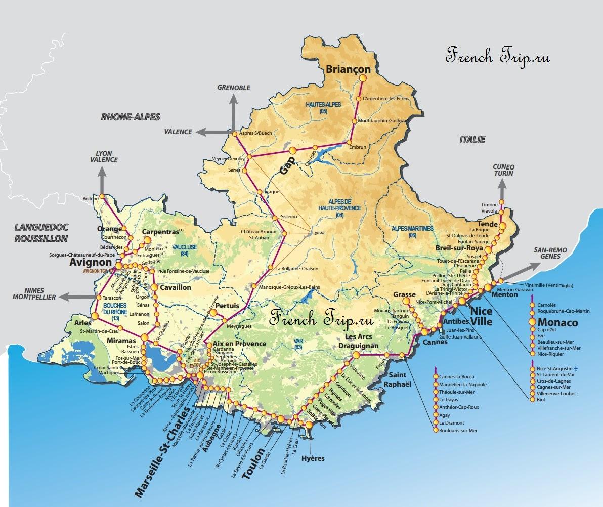 Карта маршрутов поездов по Провансу - Из Ниццы на поезде по региону