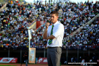 Photo: Leone Stars Head Coach Johnny McKinstry looks on as the Leone Stars maintain their lead over Tunisia, June 2013 (Pic: Darren McKinstry)
