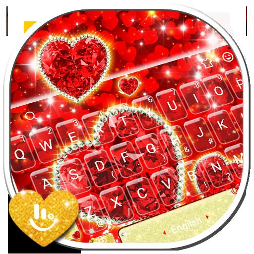 Sparkling Glitter Red Golden Heart Keyboard Theme