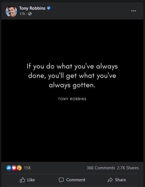Câu trích dẫn trên Facebook của Tony Robbins