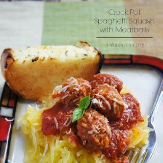 Crock Pot Spaghetti Squash with Meatballs.