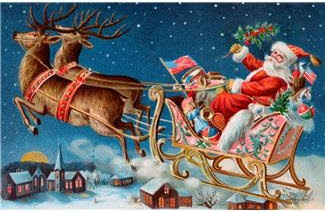 Story image of Santa riding in sleigh