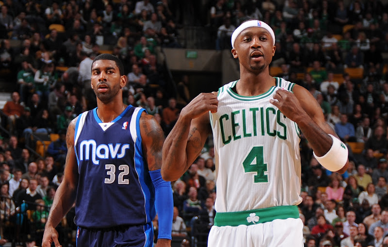 Photo: BOSTON, MA - DECEMBER 12:  Jason Terry #4 of the Boston Celtics and O.J. Mayo #32 of the Dallas Mavericks look on during the game between the Boston Celtics and the Dallas Mavericks on December 12, 2012 at the TD Garden in Boston, Massachusetts.  NOTE TO USER: User expressly acknowledges and agrees that, by downloading and or using this photograph, User is consenting to the terms and conditions of the Getty Images License Agreement. Mandatory Copyright Notice: Copyright 2012 NBAE  (Photo by Brian Babineau/NBAE via Getty Images)