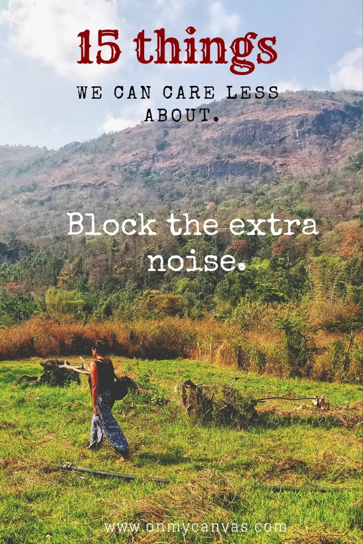 a indian woman walking in the fields of chikamagalur alone image being used for pinterest image for a guide on 15 things we Can care less about personal growth