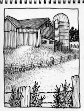 Photo: Random barn, Chautauqua County/Western New York (pen & ink sketch)
